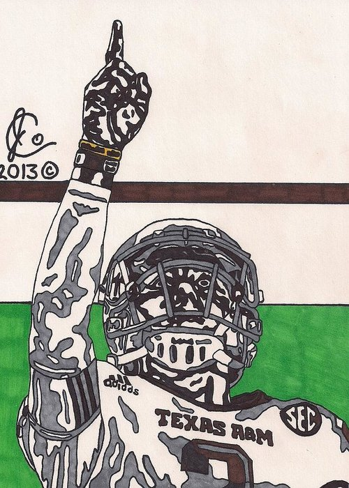 American Football Greeting Card featuring the drawing Johnny Manziel 7 by Jeremiah Colley