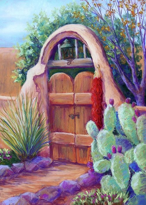 New Mexico Landscapes Greeting Card featuring the pastel Josefina's Gate by Candy Mayer
