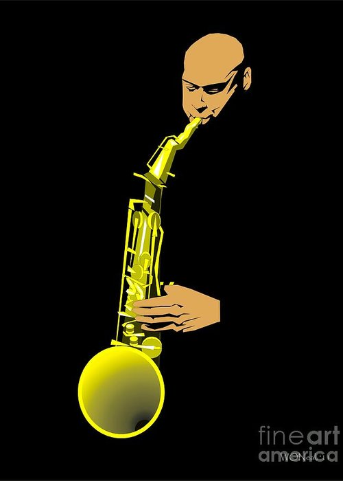 Portraits Greeting Card featuring the digital art Joshua Redman by Walter Oliver Neal