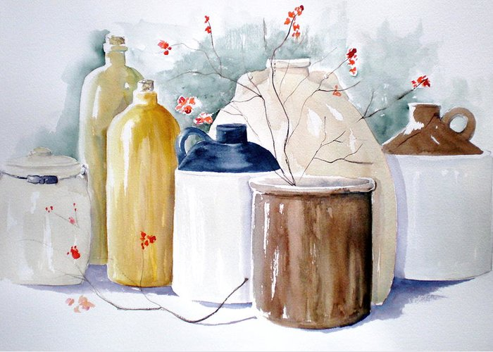 Bittersweet Greeting Card featuring the painting Jugs by Lisa Schorr