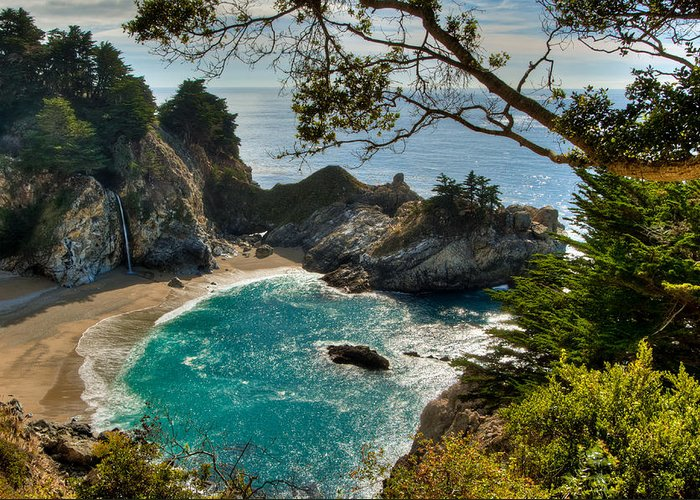 Beach Greeting Card featuring the photograph Julia Pfeiffer State Park Falls by Connie Cooper-Edwards