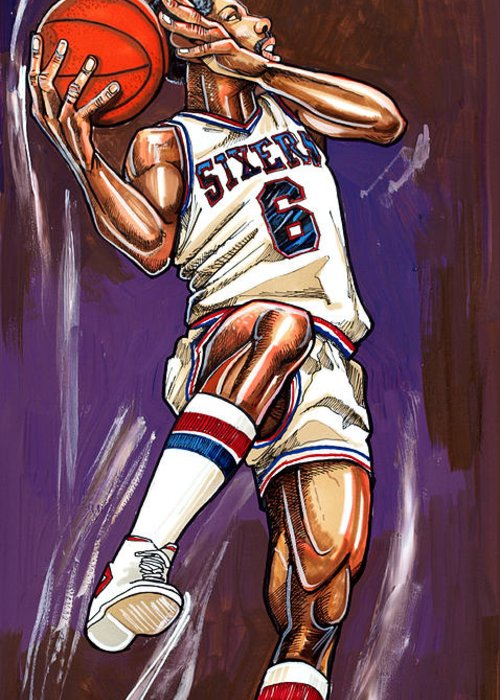 Julius Erving Greeting Card featuring the painting Julius Erving by Dave Olsen