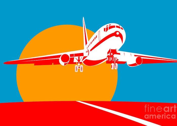 Jumbo Greeting Card featuring the digital art Jumbo Jet by Aloysius Patrimonio