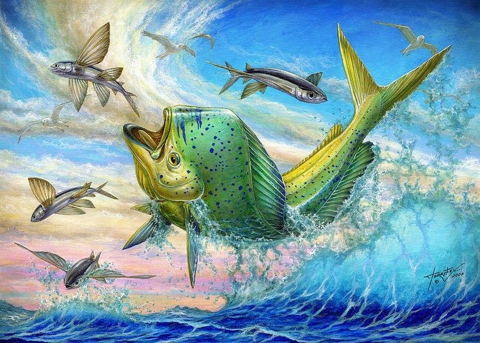 Flyingfish Greeting Card featuring the painting Jumping Mahi Mahi And Flyingfish by Terry Fox