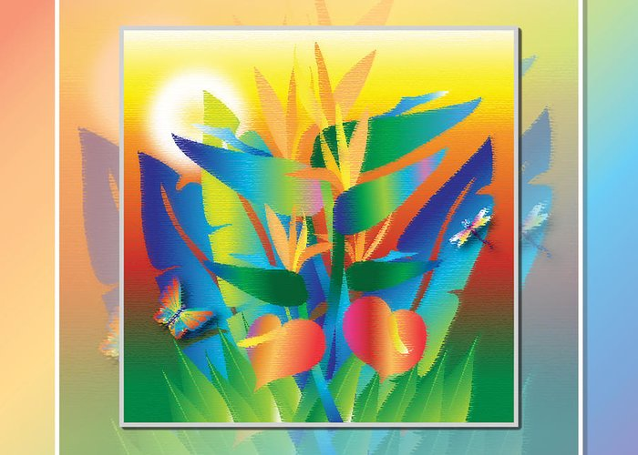 Birds Of Paradise Greeting Card featuring the digital art Jungle Sunset by Jack Potter