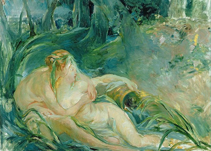 Nude Greeting Card featuring the painting Jupiter And Callisto by Berthe Morisot