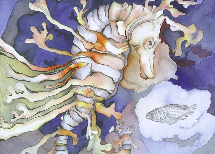 Sealife Greeting Card featuring the painting Just Dreaming Too by Liduine Bekman