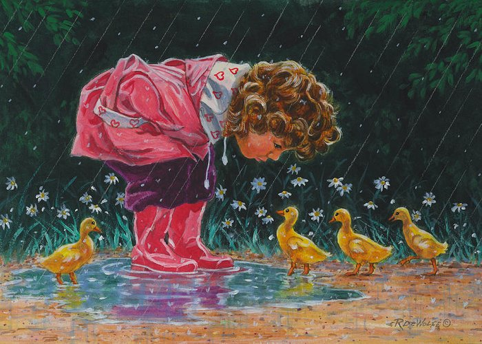 Children Greeting Card featuring the painting Just Ducky by Richard De Wolfe