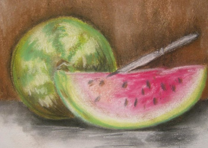 Still Life Greeting Card featuring the drawing Just Watermelon by Leslie Manley