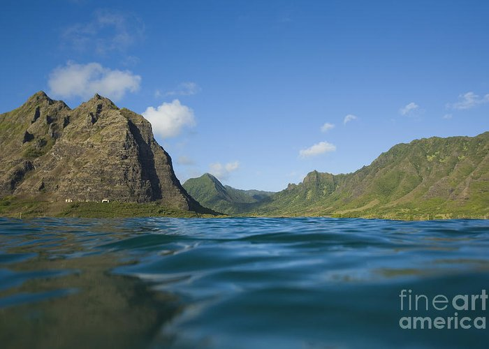 Adventure Greeting Card featuring the photograph Kaaawa Valley From Ocean by Dana Edmunds - Printscapes