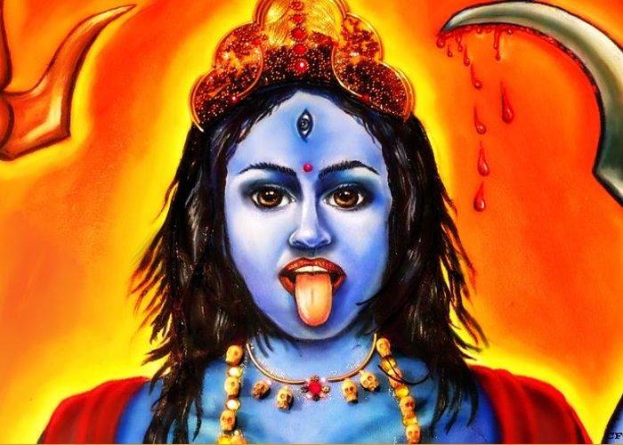 Kali Greeting Card featuring the painting Kali -hindu Goddess by Carmen Cordova