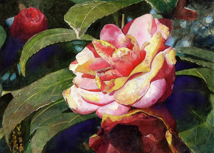 Flower Greeting Card featuring the painting Karma Camellia by Andrew King