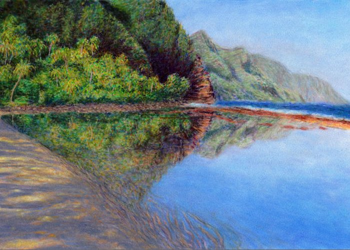 Rainbow Colors Pastel Greeting Card featuring the painting Ke'e Morning by Kenneth Grzesik