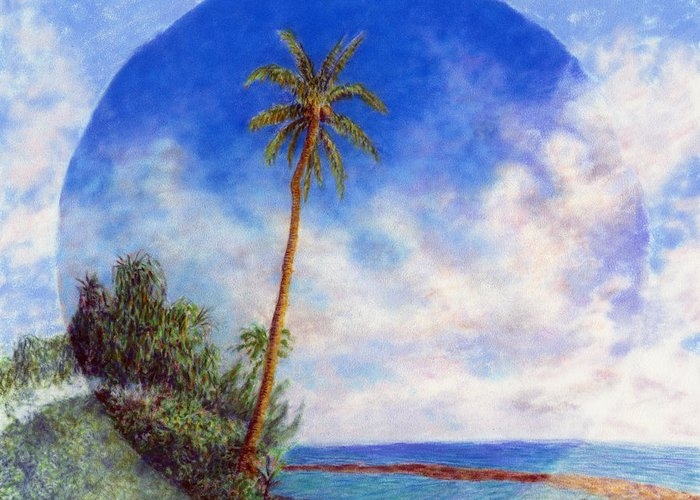 Rainbow Colors Pastel Greeting Card featuring the painting Ke'e Palm by Kenneth Grzesik