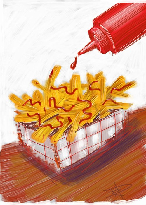 French Fries Greeting Card featuring the digital art Ketchup And Fries by Russell Pierce