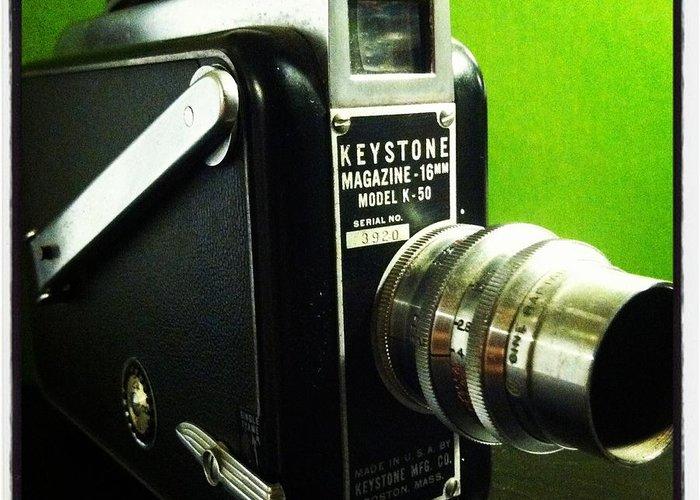 Keystone K50 16mm Hand Crank Vintage Camera Film Lens Black Green Silver Polished Dial Movie Aperture F Stop Viewfinder Made In Usa Boston Mass Single Frame Lock Run Art Fun Telephoto Macro Greeting Card featuring the photograph Keystone K50 by Gabe Arroyo