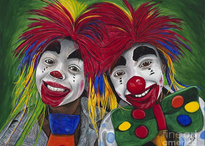 Kids Greeting Card featuring the painting Kid Clowns by Patty Vicknair