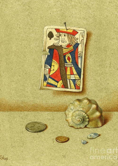 Plying Cards Greeting Card featuring the painting King And Seashell by Victor Sap
