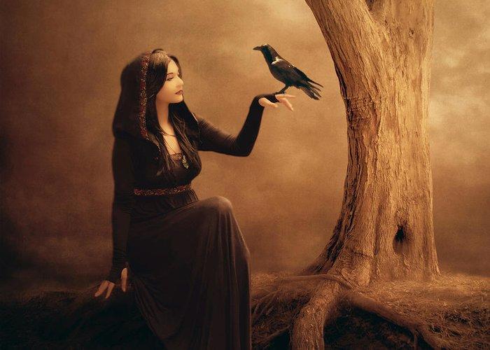 Crow Greeting Card featuring the digital art Kinship by Jennifer Gelinas