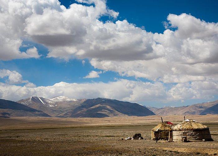 Landscape Greeting Card featuring the photograph Kirgizian Jurts by Konstantin Dikovsky