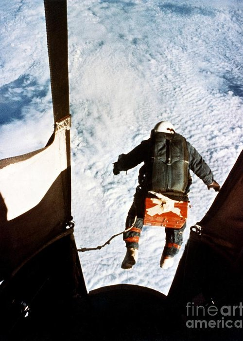 Joseph Kittinger Greeting Card featuring the photograph Kittinger by SPL and Photo Researchers