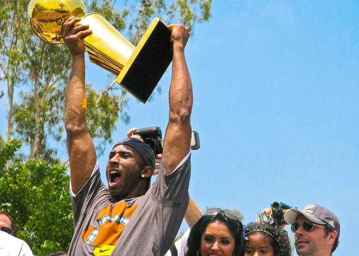 Lakers Greeting Card featuring the photograph Kobe And The Trophy by Carl Jackson