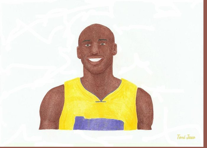 Basketball Greeting Card featuring the drawing Kobe Bryant by Toni Jaso