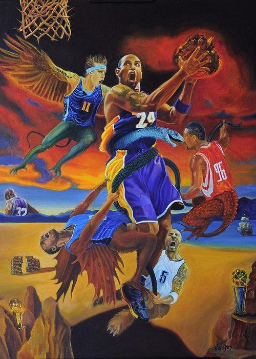 Kobe Bryant Greeting Card featuring the painting Kobe Defeating The Demons by Luis Antonio Vargas