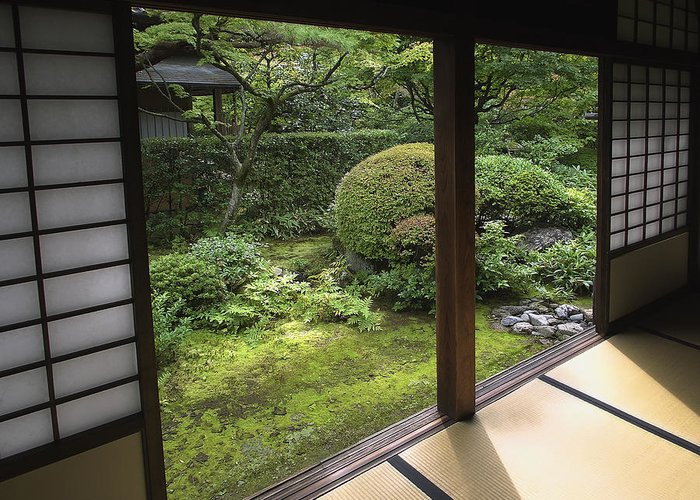 Japan Greeting Card featuring the photograph Koto-in Zen Temple Side Garden - Kyoto Japan by Daniel Hagerman