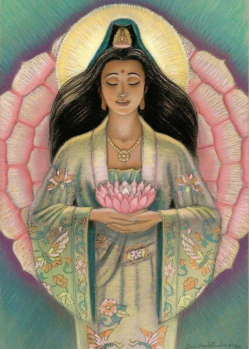 Kuan Yin Greeting Card featuring the painting Kuan Yin Pink Lotus Heart by Sue Halstenberg