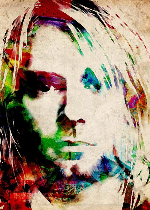 Kurt Cobain Greeting Card featuring the painting Kurt Cobain Urban Watercolor by Michael Tompsett