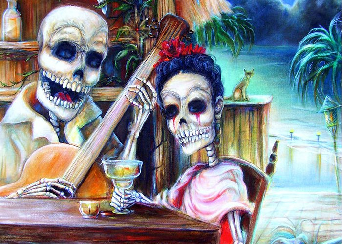 Dia De Lost Muertos Greeting Card featuring the painting La Borracha by Heather Calderon
