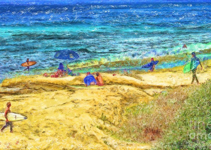 la Jolla Surfers Greeting Card featuring the mixed media La Jolla Surfing by Marilyn Sholin