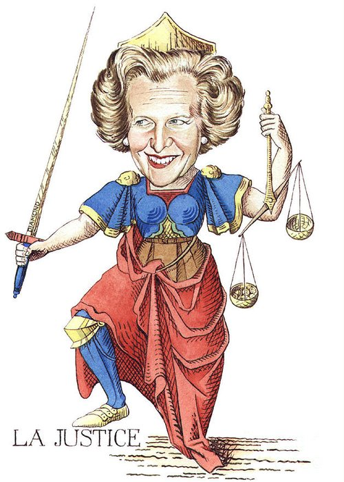 Margaret Thatcher Scales Justice Tarot Caricature Sword Greeting Card featuring the painting La Justice by Debbie Diamond