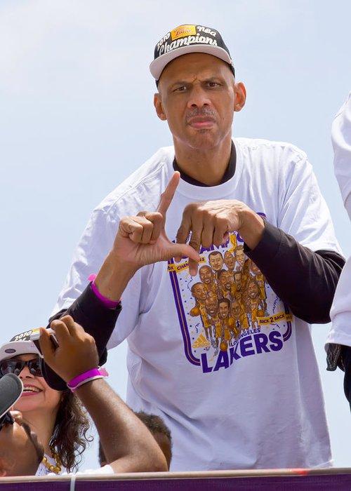 Basketball Greeting Card featuring the photograph La Kareem by Carl Jackson