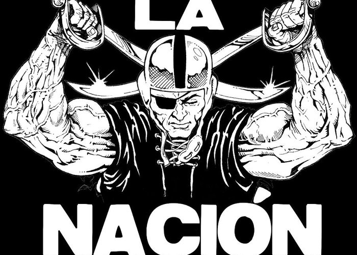 Sports Greeting Card featuring the drawing La Nacion by Brian Child
