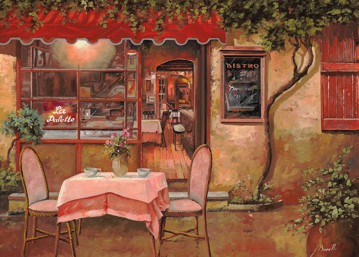 Caffe Greeting Card featuring the painting La Palette by Guido Borelli