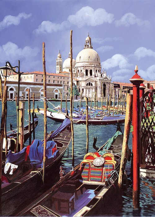 Church Greeting Card featuring the painting La Salute by Guido Borelli