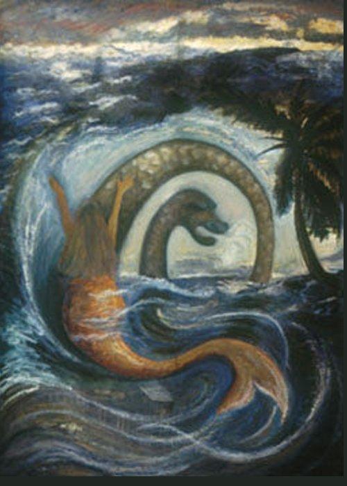 Haitian Greeting Card featuring the painting La Sirene Rabbah by Barbara Nesin
