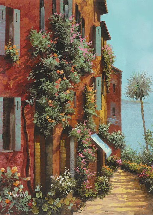 Lakescape Greeting Card featuring the painting La Strada Verso Il Lago by Guido Borelli