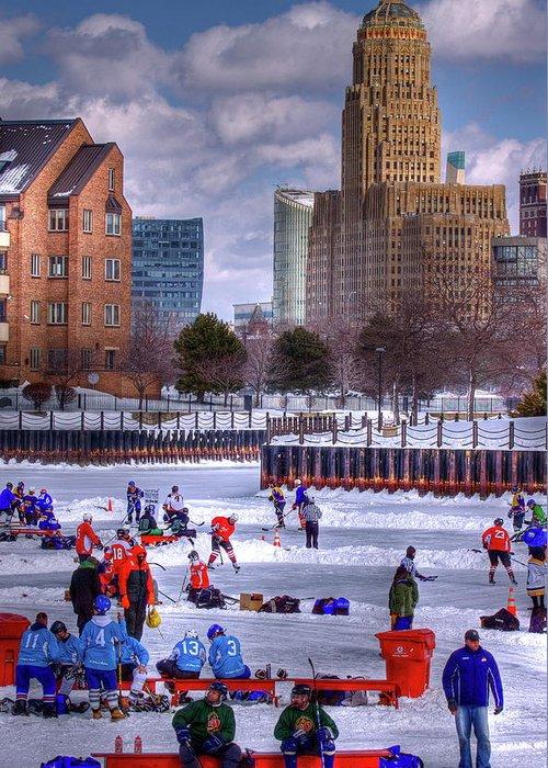 Buffalo Greeting Card featuring the photograph Labatt Pond Hockey 2011 by Don Nieman