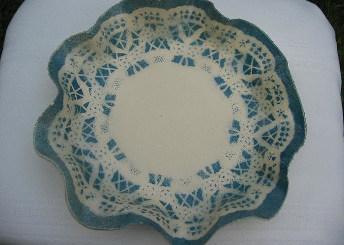 Blue Greeting Card featuring the ceramic art Lacy Platter by Julia Van Dine
