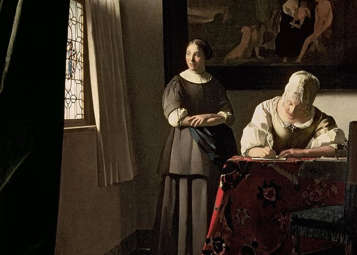 Lady Greeting Card featuring the painting Lady Writing A Letter With Her Maid by Jan Vermeer