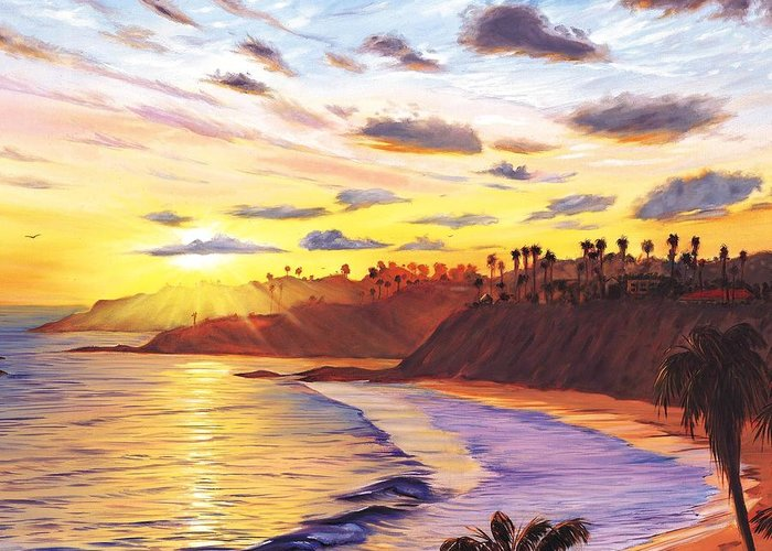 Laguna Beach Greeting Card featuring the painting Laguna Village Sunset by Steve Simon