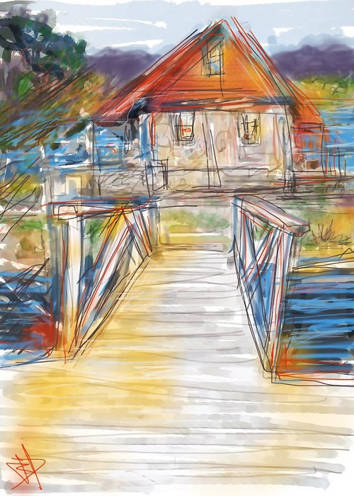 Lake Greeting Card featuring the digital art Lake House by Russell Pierce
