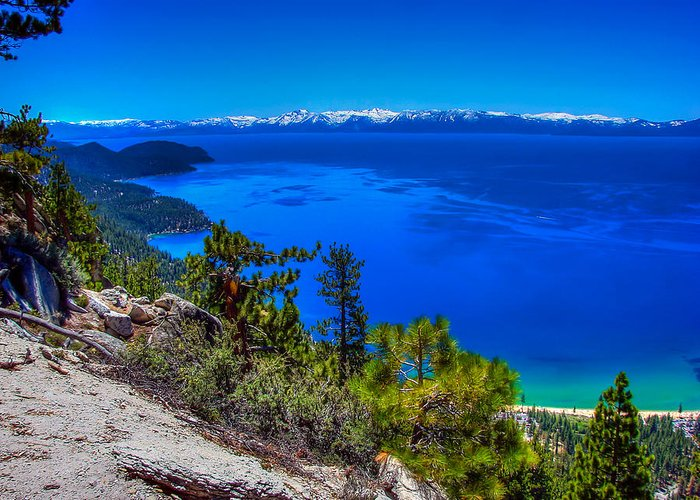 Lake Tahoe Greeting Card featuring the photograph Lake Tahoe From Flume Trail Over Sand Harbor State Park by Scott McGuire
