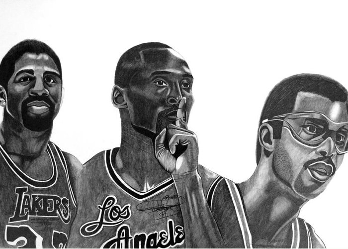Kobe Bryant Greeting Card featuring the drawing Laker Greats by Keeyonardo