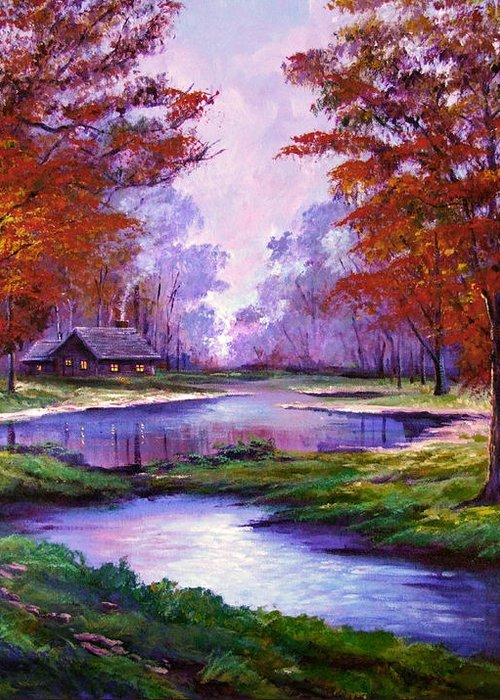 Autumn Greeting Card featuring the painting Lakeside Cabin by David Lloyd Glover