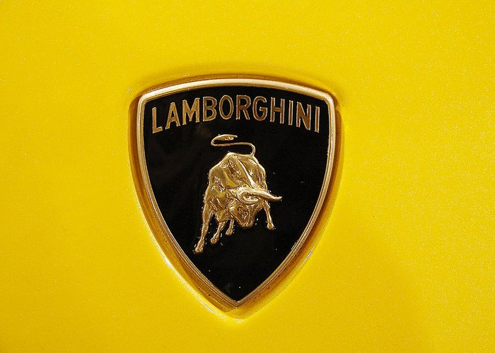 Sydney Alvares Greeting Card featuring the photograph Lamborghini Logo by Sydney Alvares