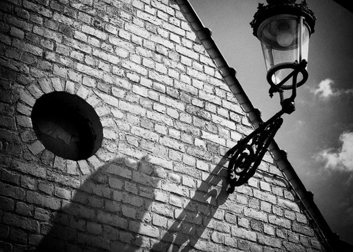 Lamp Greeting Card featuring the photograph Lamp With Shadow by Dave Bowman